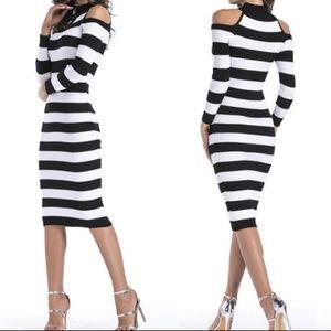Dresses & Skirts - Striped Midi Cold Shoulder Dress